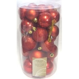 Decoris 30 Luxury Shatterproof Christmas Baubles Tree Decorations - Autumn Red