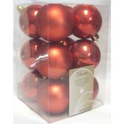 12 Luxury Shatterproof Christmas Baubles Tree Decorations 60mm - Autumn Red