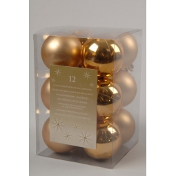 Pack Of 12 Luxury Shatterproof Christmas Baubles Tree Decorations 60mm - Gold