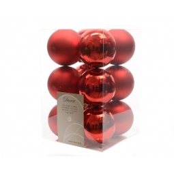 12 Luxury Shatterproof Christmas Baubles Tree Decorations 60mm Christmas Red