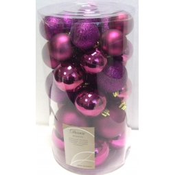 30 Luxury Shatterproof Christmas Baubles Decorations Violet Fig Purple - 340600