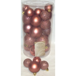 30 Luxury Shatterproof Christmas Baubles Tree Decorations Rosewood Rusty Pink