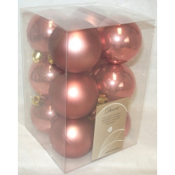12 Luxury Shatterproof Christmas Baubles Tree Decoration 6cm Rosewood Rusty Pink