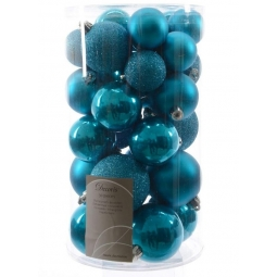 30 Luxury Shatterproof Christmas Baubles Tree Decs Dazzling Topaz Bright Blue
