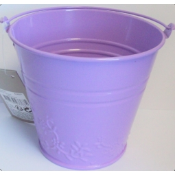 Lilac Purple Pastel Small Metal Bucket Flower Plant Pot Sweet Tin Wedding 11.5cm