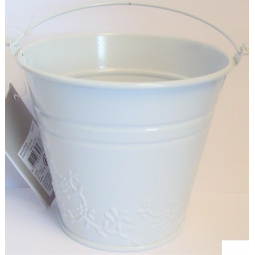 White Pastel Small Metal Bucket Flower Plant Pot Sweet Tin Wedding 11.5cm