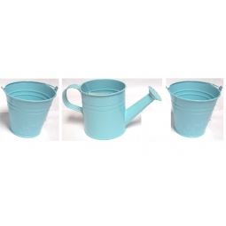 3 Piece Pastel Blue Kids Small Zinc Metal Watering Can Metal Bucket Plant Pots