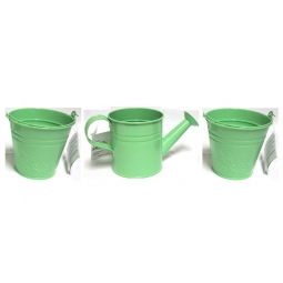3 Piece Pastel Green Kids Small Zinc Metal Watering Can Metal Bucket Plant Pots