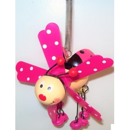 Hanging Ladybird On Spring Garden Windmill Decoration Jingle Feet - Pink