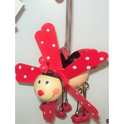 Hanging Ladybird On Spring Garden Windmill Decoration Jingle Feet - Red
