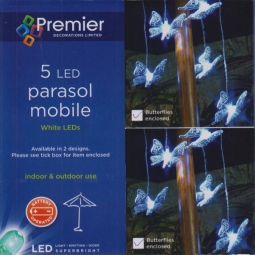 Butterfly Garden Parasol Mobile Lights 5 LED Bright White Battery Operated