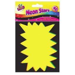 Pack Of 40 Neon Card Stars Flourescent Flash Pricing Tags Labeling 15cm x 10cm