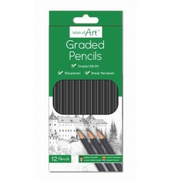 Pack Of 12 Artist Graded Shading Pencils 6B-6H Sharpened & Break Resistant