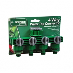 Kingfisher Gardening 4 Way Water Tap Hose Connector Splits & Controls Water Flow