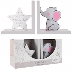 Set Of 2 Wooden Book Ends Baby Nursery Welcome To The World Star Cute Elephant