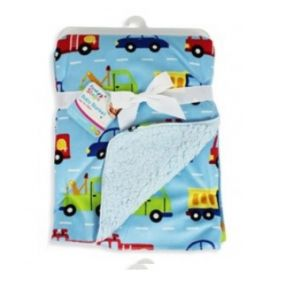 Super Soft Baby Blanket Mink Sherpa Snuggle 75cm x 100cm Blue Car & Lorry