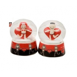 Valentines Heart Water Globe Ornaments Novelty Gift 6.5cm x 4.5cm
