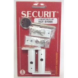 Securit Pack Of 2 White Metal Security Door Bolts With 1 Key S1065