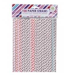 100 x Polka Dots Paper Drinking Straws Dispoasable Eco Party Cocktail Summer Multicolou