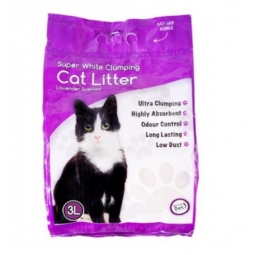 Natural Super White Clumping Cat Kitten Litter Lavender Scented Odour Control 3L
