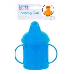 Blue Toddler Baby Training Sippy Juice Cup 260ml Easy Grip Double Handles