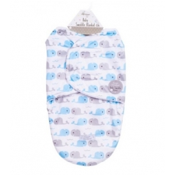 Blue & Grey Cute Whale Super Soft Mink Baby Swaddle Blanket Wrap Newborn