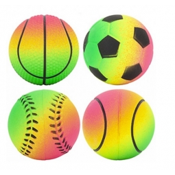 Set Of 4 Neon Multi Coloured Hard Rubber Sports Balls Tennis Pet Dog Fetch Game