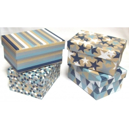 Set Of 4 Small Blue & Kraft Brown Male Baby Gift Boxes With Lid 8.5 x 11.5cm