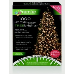 1000 LED Multi Action 7ft Christmas Tree Cluster Lights & Timer - Warm White