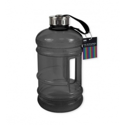 Black Extra Large Sports Drinking Water Bottle 2.2 Litre With Handle Gym Hiking