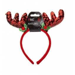 Novelty Red Sequin Christmas Reindeer Antlers Headband Xmas Party Fancy Dress