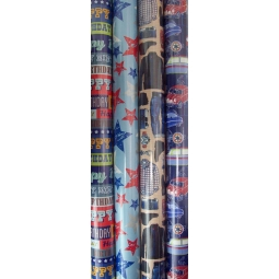 4 x Rolls Of Mens Retro Birthday Gift Wrap Paper 3Mx70cm Cars Bday Script Star