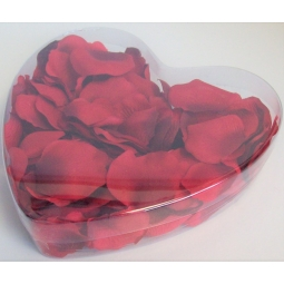 Valentines Polyester Artificial Floating Rose Petals In a Heart Shaped Box - Red