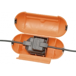 Masterplug Orange Splashproof Outdoor Plug Housing One Gang Socket Cover Case