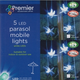 Dragonfly Garden Parasol Mobile Lights 5 LED Bright White Battery Operated