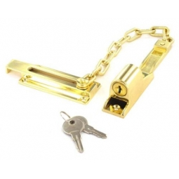 Securit Brass plated Locking Door Chain - With 2 Keys