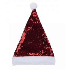 Luxury Brush Red Silver Sequin Adult Christmas Santa Hat Fancy Dress Xmas Party