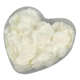 Valentines Polyester Rose Petals In a Heart Shaped Box - Off White/Cream