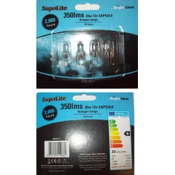 Pack Of 4 SupaLite 350lms 20W 12V Capsule Halogen Lamp Bulbs G4 Base 2000 Hours