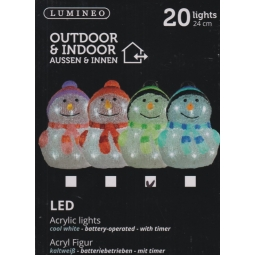 1 GREEN Lumineo LED Acrylic Cute Snowman Scarf Christmas Light 24cm Cool White