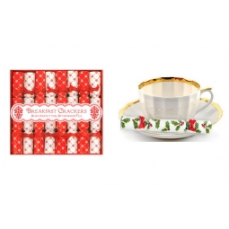 Pack Of 8 Red & White Snowflake Mini Breakfast Afternoon Tea Side Saucer Cracker