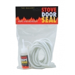 Stove Door Seal / Rope Replacement Kit 12mm, Wood Burner c/w High Temp. Glue