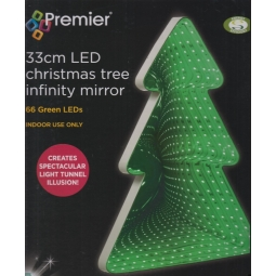 Premier Indoor 33cm LED Christmas Tree Infinity Mirror Light 66 Green LEDs