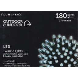 Lumineo Indoor & Outdoor 180 LED Christmas Twinkle String Lights 13.5M - White