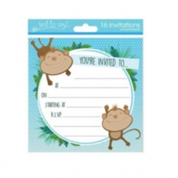 Pack Of 16 Kids Birthday Party Invitations With Envelopes 13.5cm Monkey Design