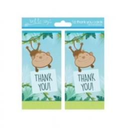 Pack Of 16 Kids Thank You Birthday Party Cards With Envelopes - Monkey Design