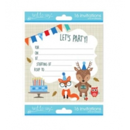 Pack Of 16 Kids Birthday Party Invitations With Envelopes 13.5cm Woodland Animal