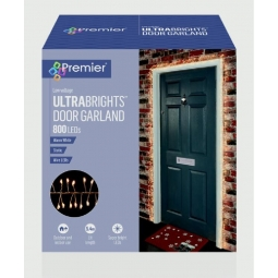 Premier Brand UltraBrights Door Garland 800 LED Lights with Timer -  WHITE