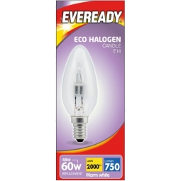 Eveready Eco Halogen Clear Candle Light Bulb E14 Energy Saver 46W Warm White