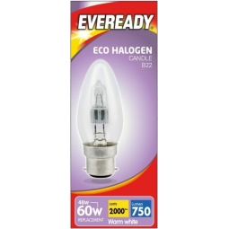Eveready Eco Halogen Clear Candle Light Bulb B22 Energy Saver 46W Warm White